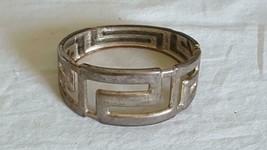 "8""VINTAGE Artsy Geometric Cuff Wide Band Bangle Bracelet,Spring Hinged,Rustic - $4.94"