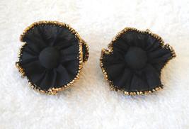 Avon Pierced Earrings Black Ruffle Gold Metallic Trim Fabric Studs VTG 1... - $12.85