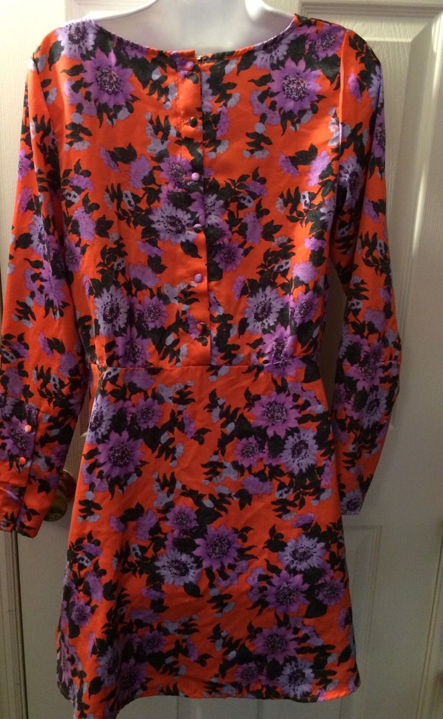 Women's FREE PEOPLE Parker Dress Tangerine Floral Fit Flare Fruit Purple Sz 8