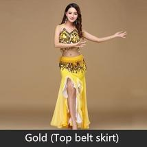 9 Colors Professional Belly Dancer Sequin Beaded Outfits Bra Belt Skirt image 14