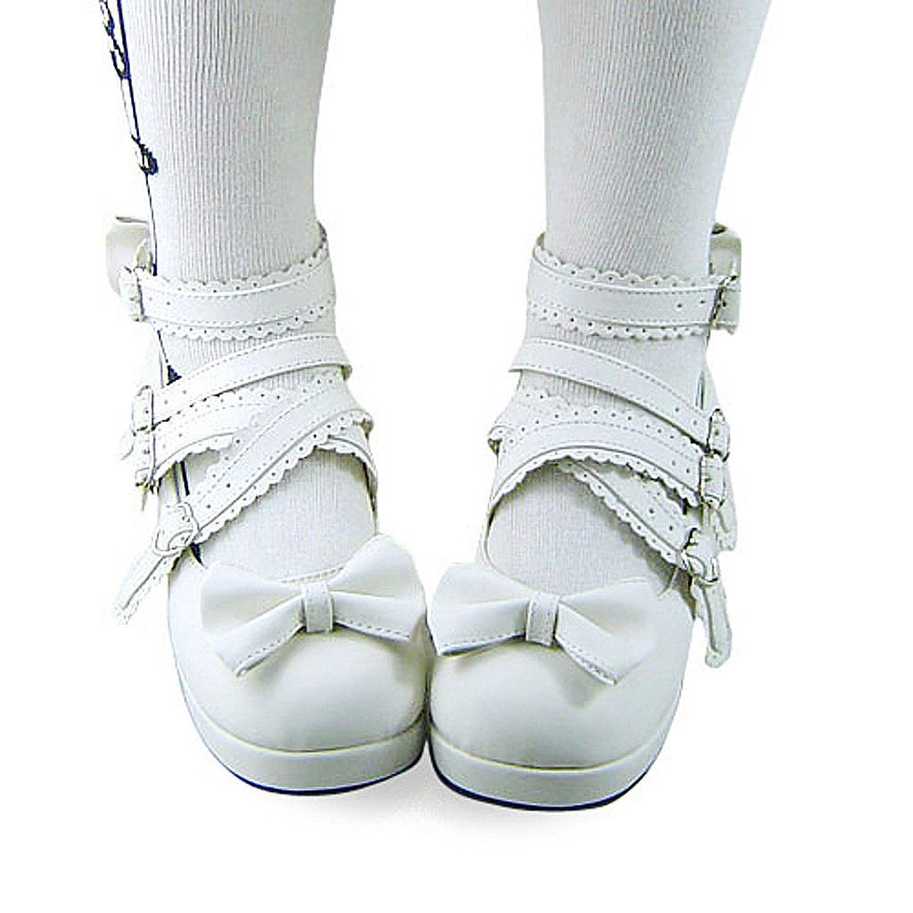 2.4 Inch Platform Ankle High Round Bow White PU Flatform Lolita Shoes