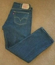 Levis 501 Button Fly Straight Denim Jeans tagged 42x34(actual 40x32) Da... - $19.40