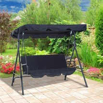 Deluxe Outdoor Swing Garden Patio Porch Lounge Chair 3 Person Top Canopy... - $114.06