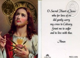 O Sacred Heart of Jesus Wallet Card - Item EB439C - Carried My Cross to ... - $2.79