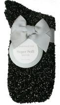 Charter Club Women's 1-Pair Metallic Black Silver Fuzzy Cozy Socks Sz 9-11 NEW image 1