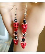 red & black turquoise sugar skull earrings long bead drop dangles jewelr... - $4.99