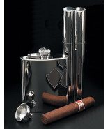 Chrome 3 piece Gift set 2 Cigar holder Flask and funnel - $49.95