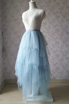 Grace High Low Tiered Tulle Skirt Wedding Bridal Tier Tulle Outfit, Dusty Blue image 2