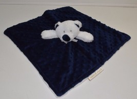 Blankets and Beyond Navy Blue Teddy Bear White Nunu Blanket Security 14x14 - $37.20 CAD