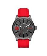 Diesel Men's DZ1806 Rasp Gunmetal IP Red Silicone Watch - $148.99