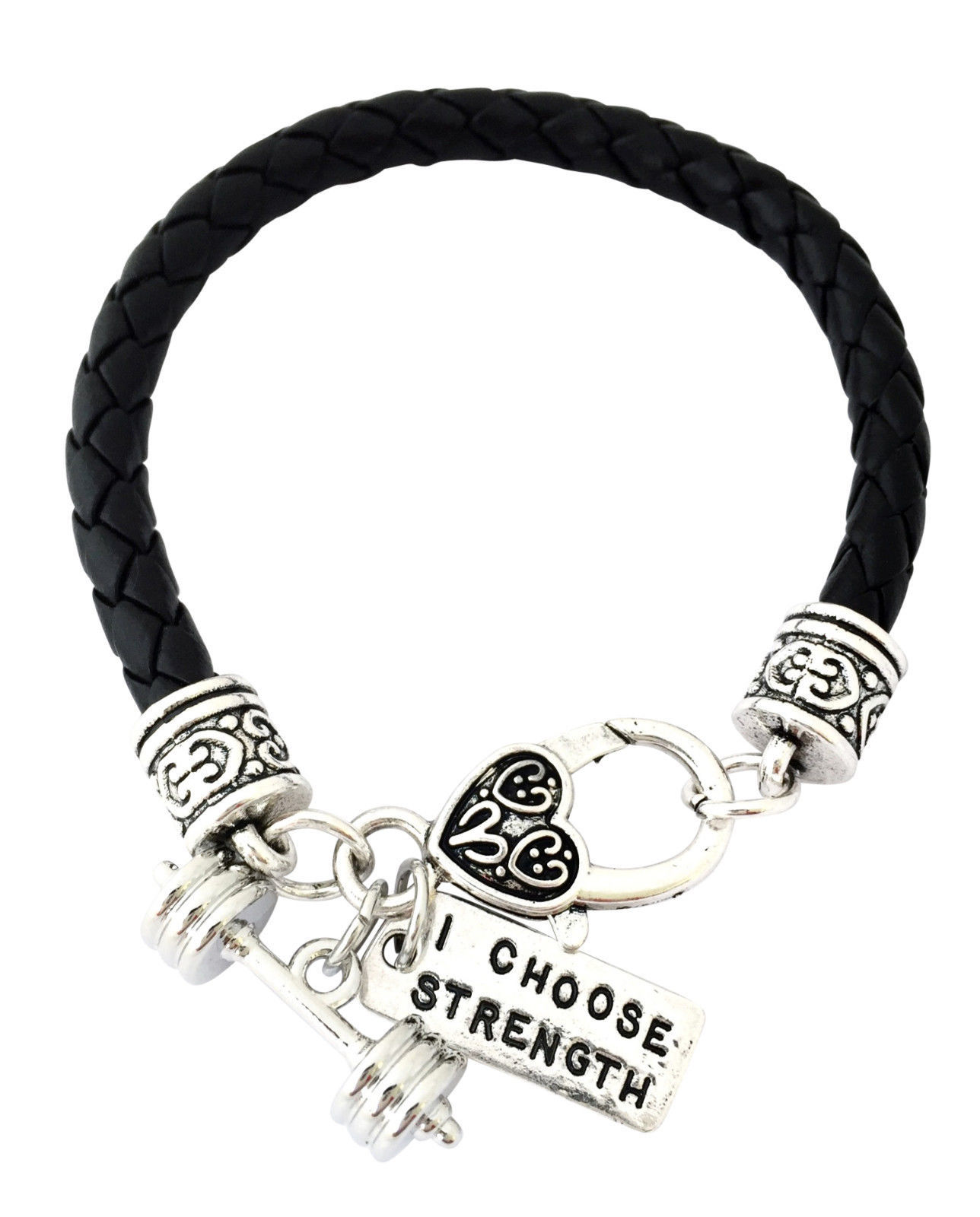 Cross Fit Training Weight Lifting Fitness Dumbell Barbell Leather Charm Bracelet