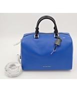 NWT MICHAEL Michael Kors Kirby Blue Black Leather Large Satchel Converti... - $228.00