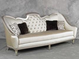 Benetti's Sofia Luxury Silver Finish Pearl Chenille Tufted Sofa Special... - $63.661,97 MXN