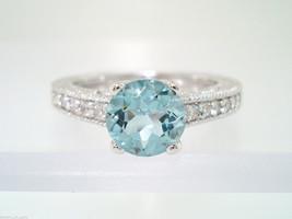 PLATINUM AQUAMARINE & DIAMONDS ENGAGEMENT RING 1.04 CARAT ANTIQUE STYLE ... - $2,500.00