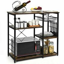 Industrial Kitchen Cart Bakers Rack Microwave Storage Shelf Organiser Fu... - $165.19