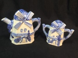 Delft Blue Windmill Teapot Matching Lidded Sugar From Japan Vintage - $21.78