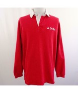 Vintage Delta Airlines Embroidered Red Uniform Polo Shirt Sz L - $24.18