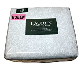 Ralph Lauren 100% Cotton Queen Sheet Set, Floral, Color: White and Grey - $96.99
