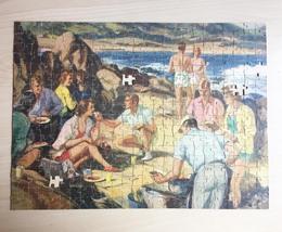 "Vintage 30s Jaymar Americana Puzzle- #4000 ""Beach Picnic""  image 2"