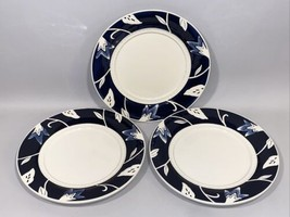 Fitz and Floyd Bristol Indigo Floral White Blue Dinner Plate Set Lot Dinnerware - $76.99