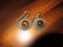 Vintage Sterling Earrings Russian Baltic Amber Cabochons Hooks - $34.99