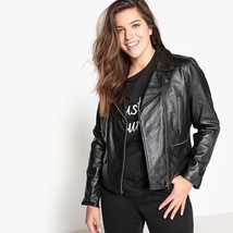 New Women's Black Genuine Leather Biker Jacket short Length Tailored collar
