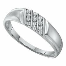 10k White Gold Mens Round Channel-set Diamond Diagonal Triple Row Weddin... - $119.19