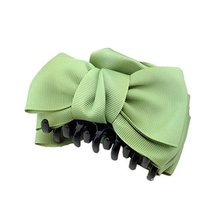 [Set Of 2] Handmade Bowknot Jaw Clip Hair Styling Claws, 3.7 inches, GREEN