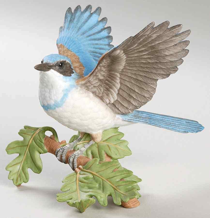 THE LENOX GARDEN BIRD COLLECTION Western Scrub Jay (2001 Fine Porcelain)