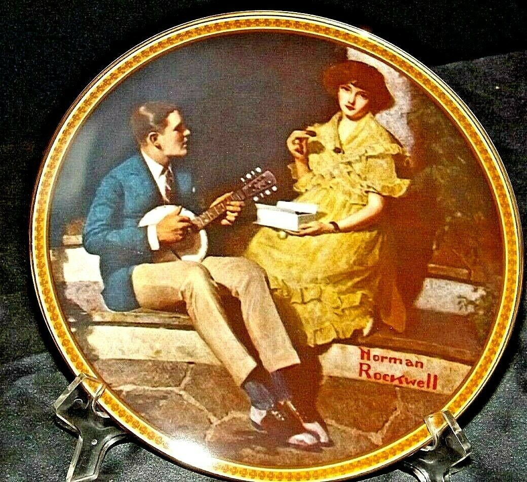 """""""Pondering on the Porch"""" by Norman Rockwell Plate with Box AA20-CP2220B Vintage"""
