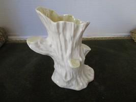 "Belleek China Ireland Tree Trunk Vase Ivory & Yellow Lustre 6TH Mark 6.25"" Tall - $24.70"