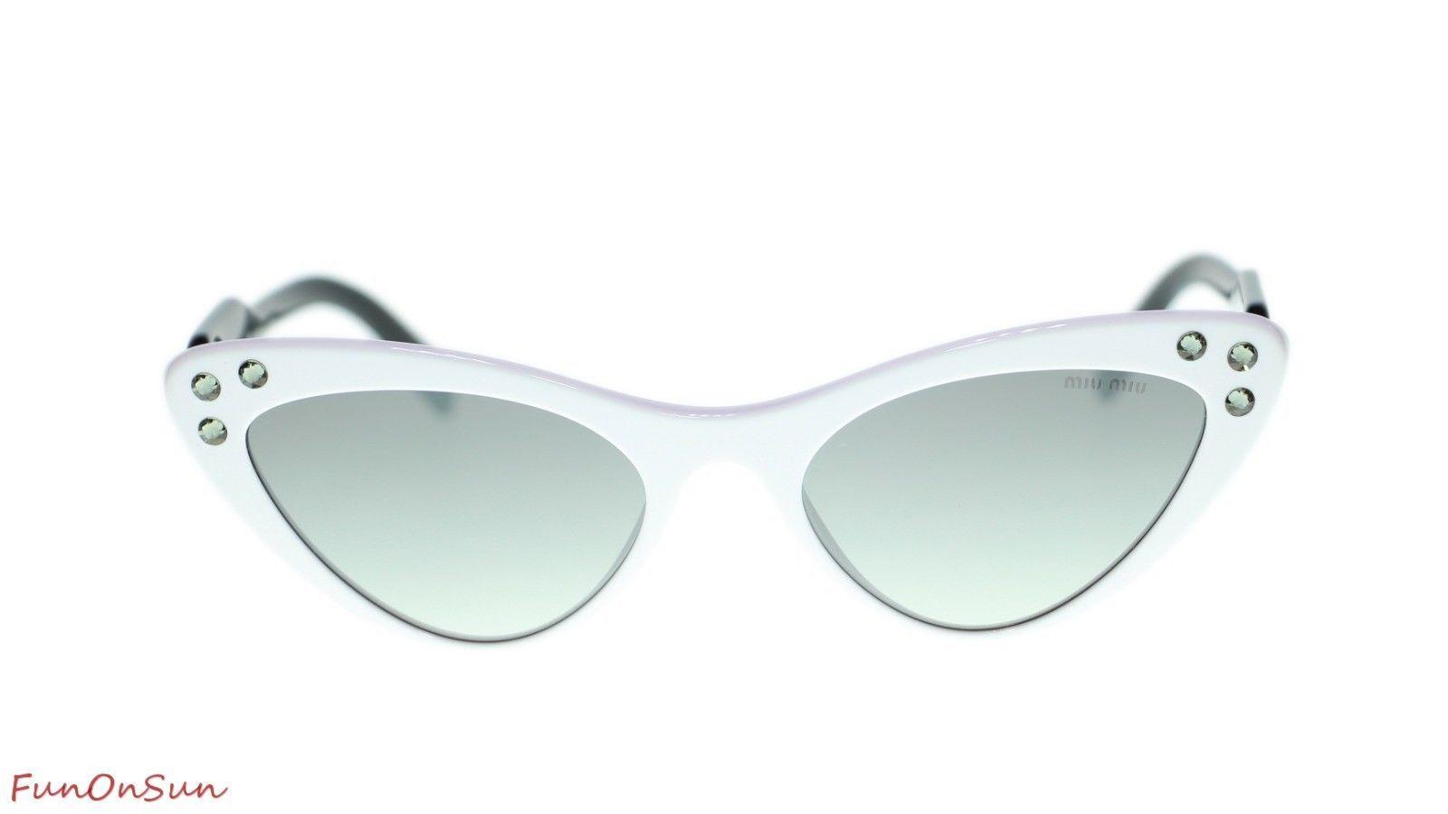 MIU MIU WOMEN SUNGLASSES MU05TS 4AO5O0 White/Grey Mirror Silver Lens 55mm