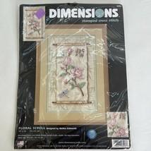 "Dimensions ""Floral Scroll"" Stamped Cross Stitch Kit #3203  Mellisa Edmonds 2001 - $12.86"