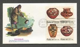 Apr 13 1977 The Pueblos - Pueblo Art Fleetwood FDC #1706-09 - $3.99