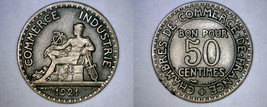 1921 French 50 Centimes World Coin - France - $19.99