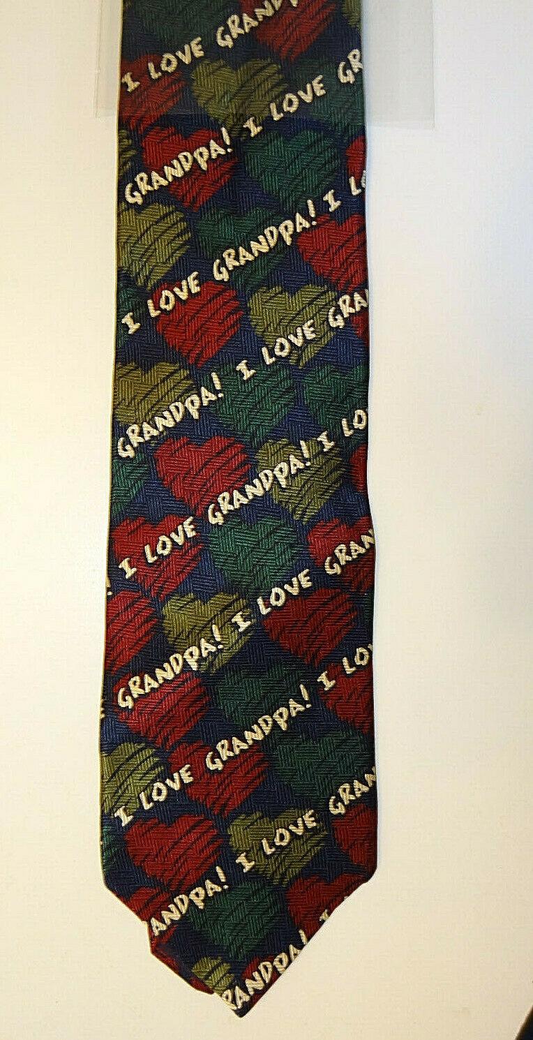 VINTAGE 1999 RALPH MARLIN I Love Grandpa Hearts NECK Tie RM STYLE
