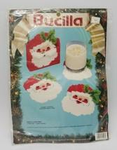 Bucilla Santa Coasters 61003 Plastic Canvas Kit Stitchery Needlepoint 1991 VTG - $39.48