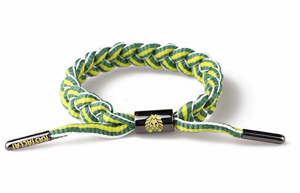 Rastaclat Mountain Dew Vert Jaune Rayure Tressé Lacet Bracelet RC001MD2