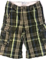 The Childrens Place Boys Shorts Size 14 Adjustable Waist Green Plaid - $5.00