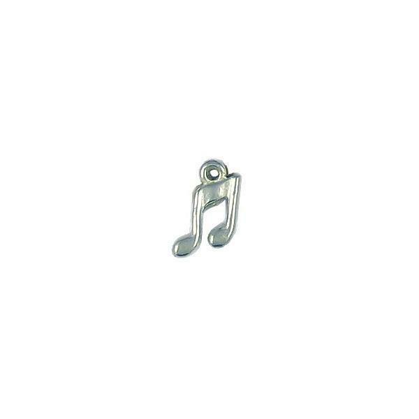 SMALL MUSIC NOTE FINE PEWTER CHARM PENDANT - 11mm  x 7mm x 2mm