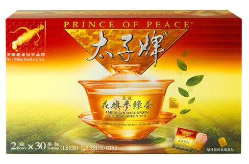 PRINCE OF PEACE AMERICAN WISCONSIN GINSENG GREEN TEA (30 TEA BAGS) - $27.72
