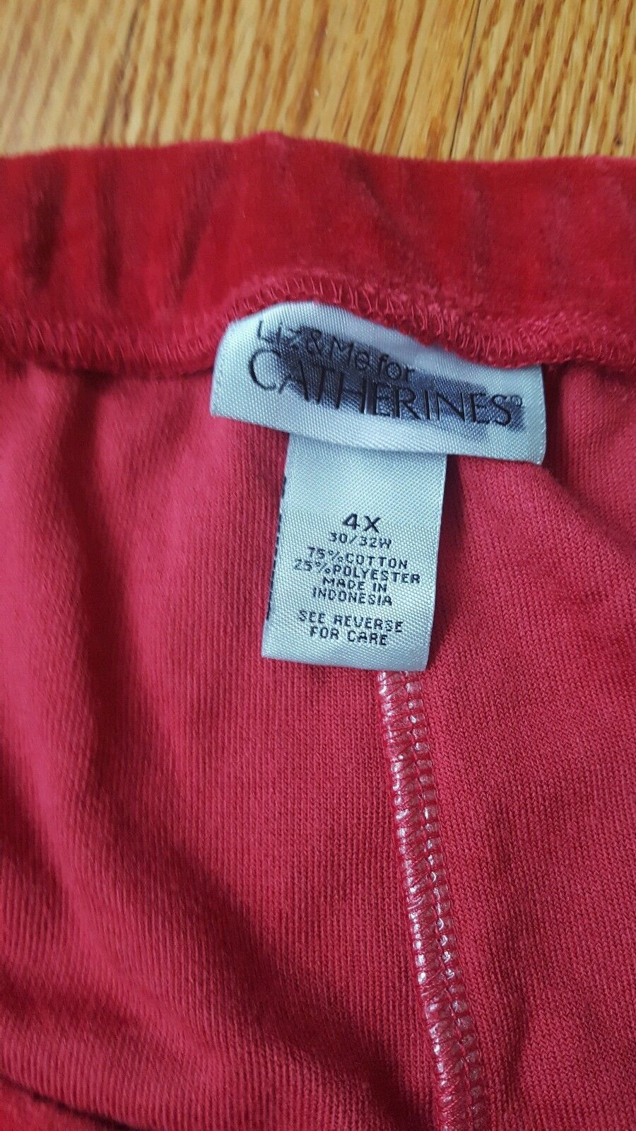 LIZ & ME for CATHERINE'S 2 Pocket Velour Pants  Womens Plus Size 4X Red NWT