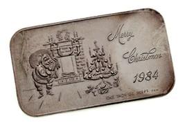 Merry Natale 1984 Da Corona come Nuovo 1 Oz. Argento Artistico Barretta - $54.34