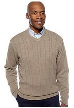 NWT  SADDLEBRED XL  COTTON CABLE KNIT V NECK SWEATER TAUPE HETH.  MSRP $55. - $11.87