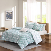 Aqua Blue White Reversible Geometric Modern All Cotton Duvet Cover Set +... - $91.57+