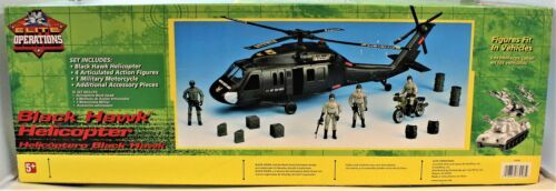 Black Hawk Helicopter 1:18 Scale Action Figure & Motorcycle Elite Operations  image 3