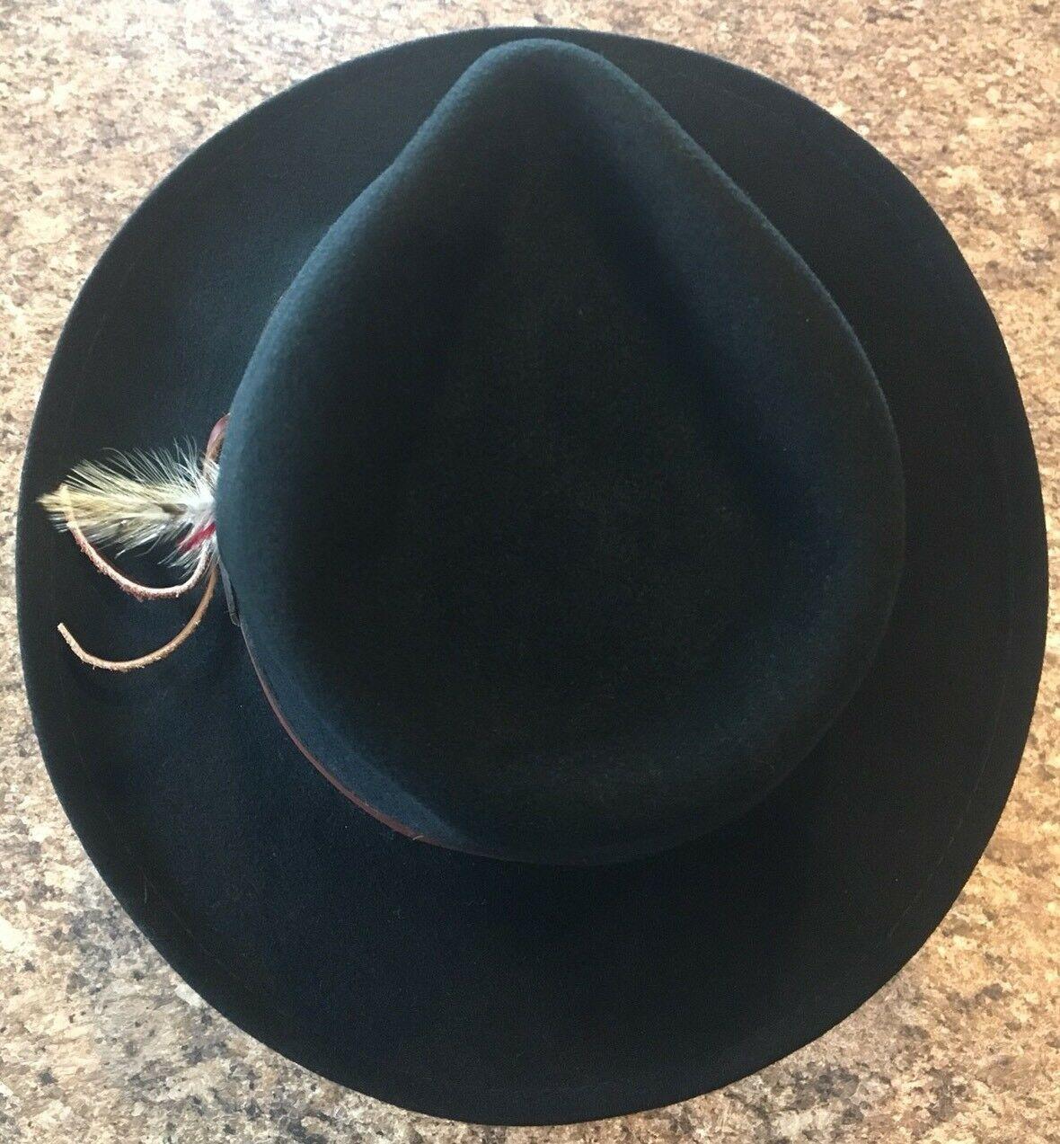 DORFMAN PACIFIC Fedora Black Wool Felt Velvet Hat Feather Sz M Brush Made USA image 4