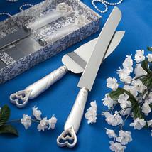 Interlocking Hearts Design Cake Knife Server Serving Set Wedding ENGRAVING Gift - $12.85