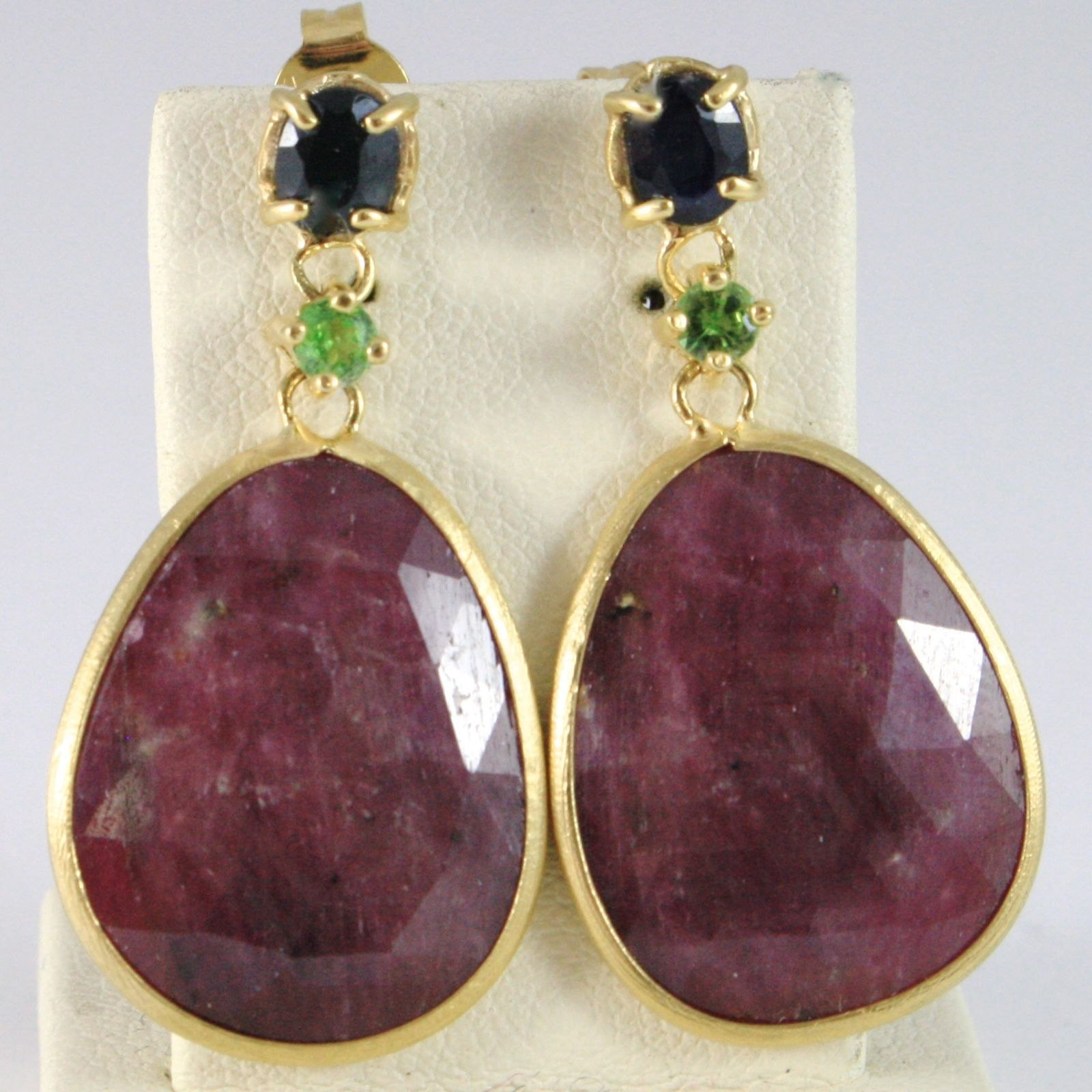 9K YELLOW GOLD PENDANT EARRINGS, DROP RUBY, GREEN PERIDOT AND BLUE SAPPHIRE