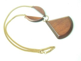 VTG 70s Necklace Wood pendant Geometric boho funky statement hippie - $15.83